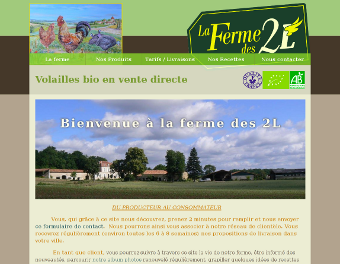 Screenshot du site de la ferme des 2L
