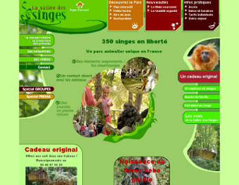 Screenshot de l'ancien site de la Vallée des Singes