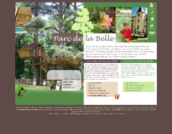 Screenshot de l'ancien site du Parc de la Belle